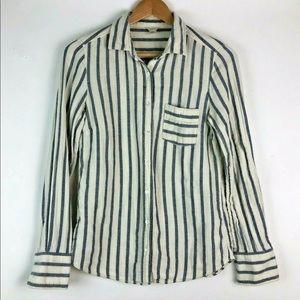 J.Crew Striped Flannel sz2 Beige Blue Button Down